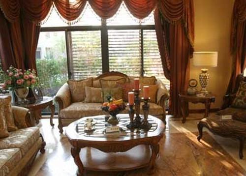 5米左右房型一般做欧式宫廷风格的波浪帘头落地窗帘