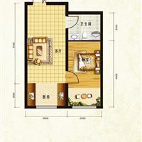 1室1厅1卫 50.49平米
